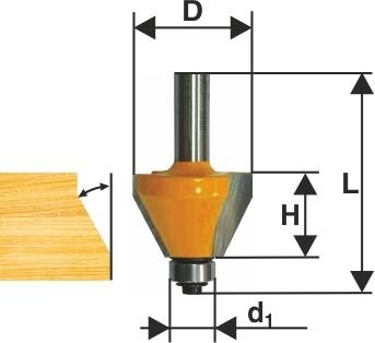 Фреза кромочная конусная d 25,4 х 11 мм 45 град., хвостовик 8 мм