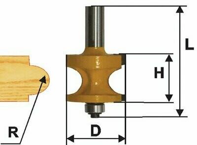 Фреза кромочная полустрежневая d 22,2 мм, r 4,8  хвостовик 12 мм