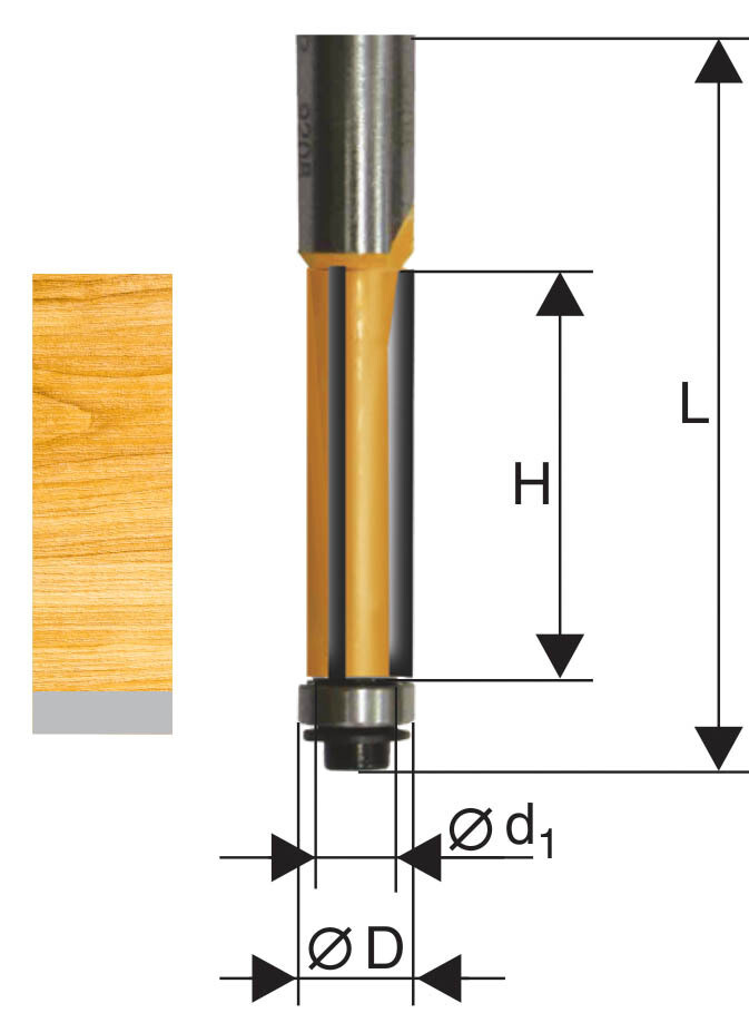 Фреза кромочная прямая d 12,7 х 38 мм, хвостовик 12 мм