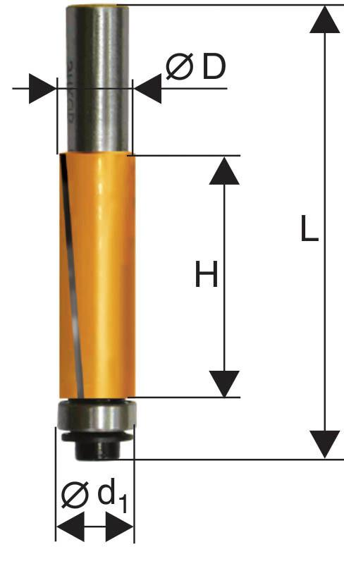 Фреза кромочная прямая d 19 х 25,6 мм, хвостовик 8 мм
