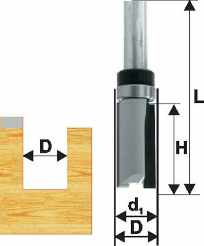 Фреза кромочная прямая d 15,8 х 26 мм, хвостовик 8 мм, по ДСП