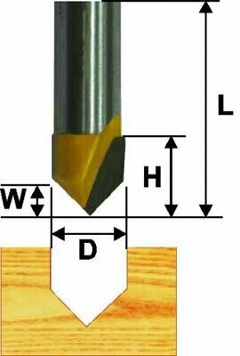 Пазовая гальтельная V-обр. d 19 мм, 90°, хвостовик 12 мм