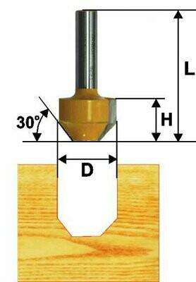 Пазовая фасонная d 11,9 х 13 мм, r 30  хвостовик 8 мм