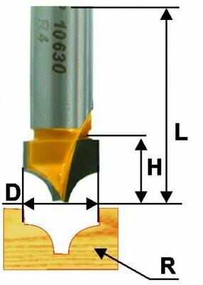 Пазовая фасонная d 22,2 х 15 мм, r 9,5  хвостовик 12 мм