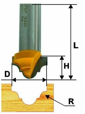 Пазовая фасонная d 25,4 х 16 мм, r 5,6  хвостовик 12 мм