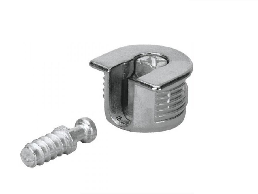 Стяжка - полкодержатель металлический/никель для плиты ДСП, МДФ 16 мм + дюбель L=11 мм