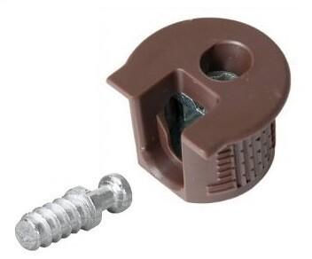 Стяжка - полкодержатель пластиковая/коричневая для плиты ДСП, МДФ 16 мм + дюбель L=11 мм