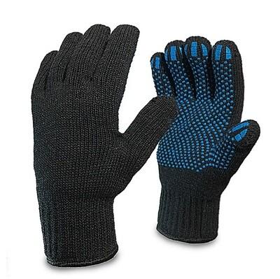 Перчатки двойные чёрные х/б п/ш с ПВХ точкой - (5 шт./упак.)