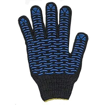 Перчатки чёрные х/б с ПВХ точка