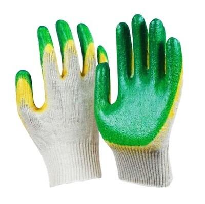 Перчатки зелёные х/б с латексом 2-ой облив - 10-й класс