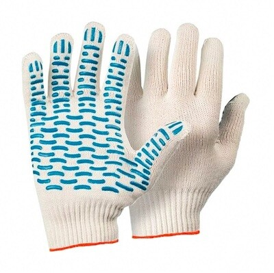 Перчатки белые х/б с ПВХ точка
