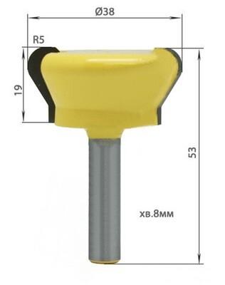 Фреза профильная D38 H19 TL53 хв. 8 мм для ручек