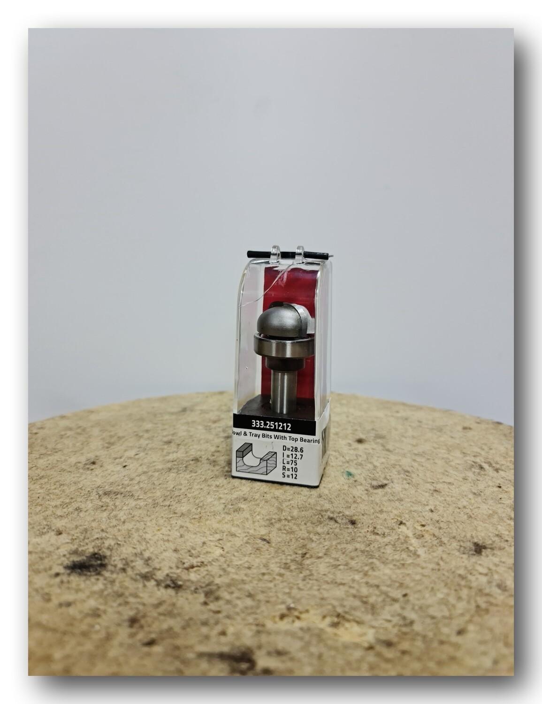 Фреза полукруглая /с верхним подшипником/ d 28.6 х 12,7 мм, R10, общая L-75 мм, хвостовик 12 мм