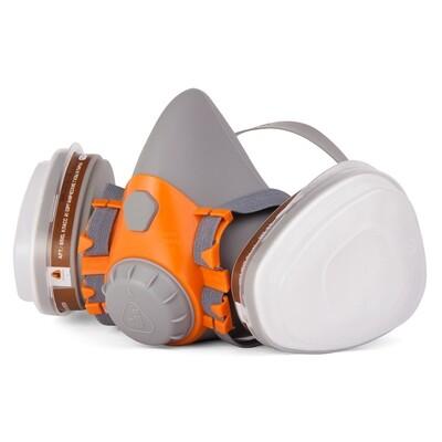 Полумаска с двойным фильтром силиконовая \ JETA (в набор входит: полумаска, фильтр для защиты - 6510, предфильтр Р2 - 6020, держатель предфильтров - 5101, нитриловые перчатки)
