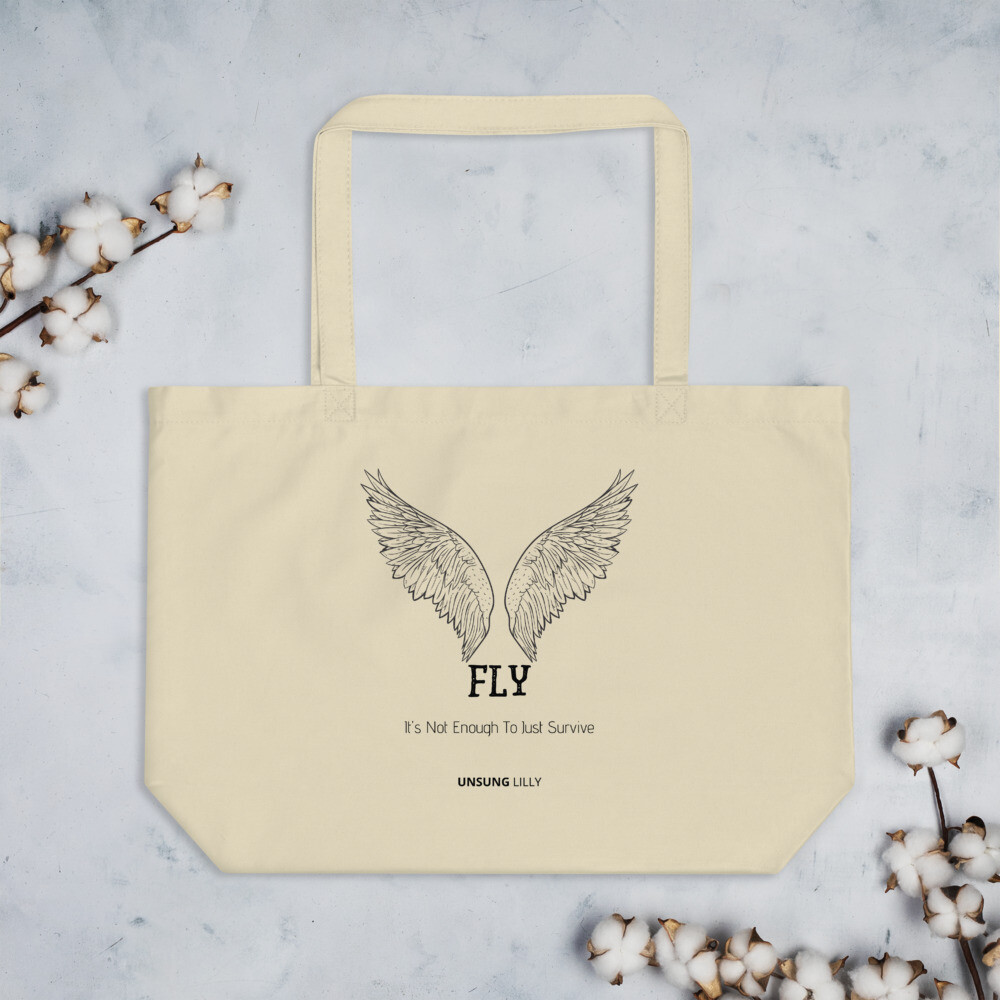 Large organic 'Fly' tote bag