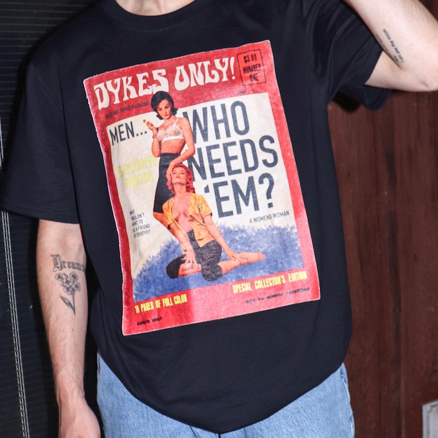 DYKES ONLY Vintage Magazine T-Shirt