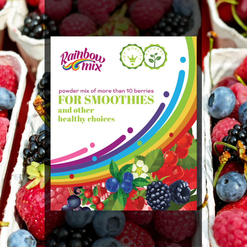 """Rainbow"" berries powder mix - of more than 10 berries - For smoothies and other healthy choices 