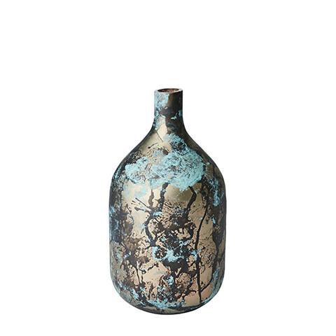 Vase en verre turquoise /cuivré