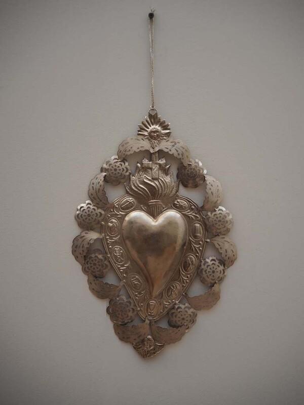 grand EX VOTO Coeur Sacré métal embossé