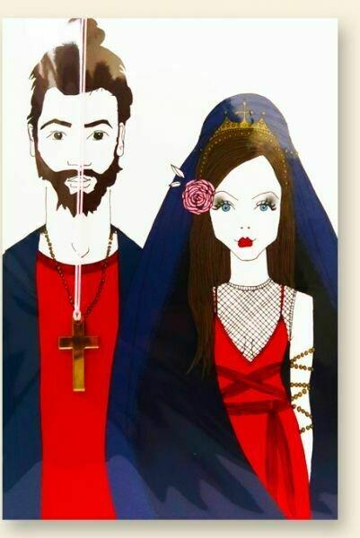 Carte de voeux collier MARIAGE GOTHIQUE