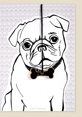 Carte de voeux collier   CARLIN/PUG