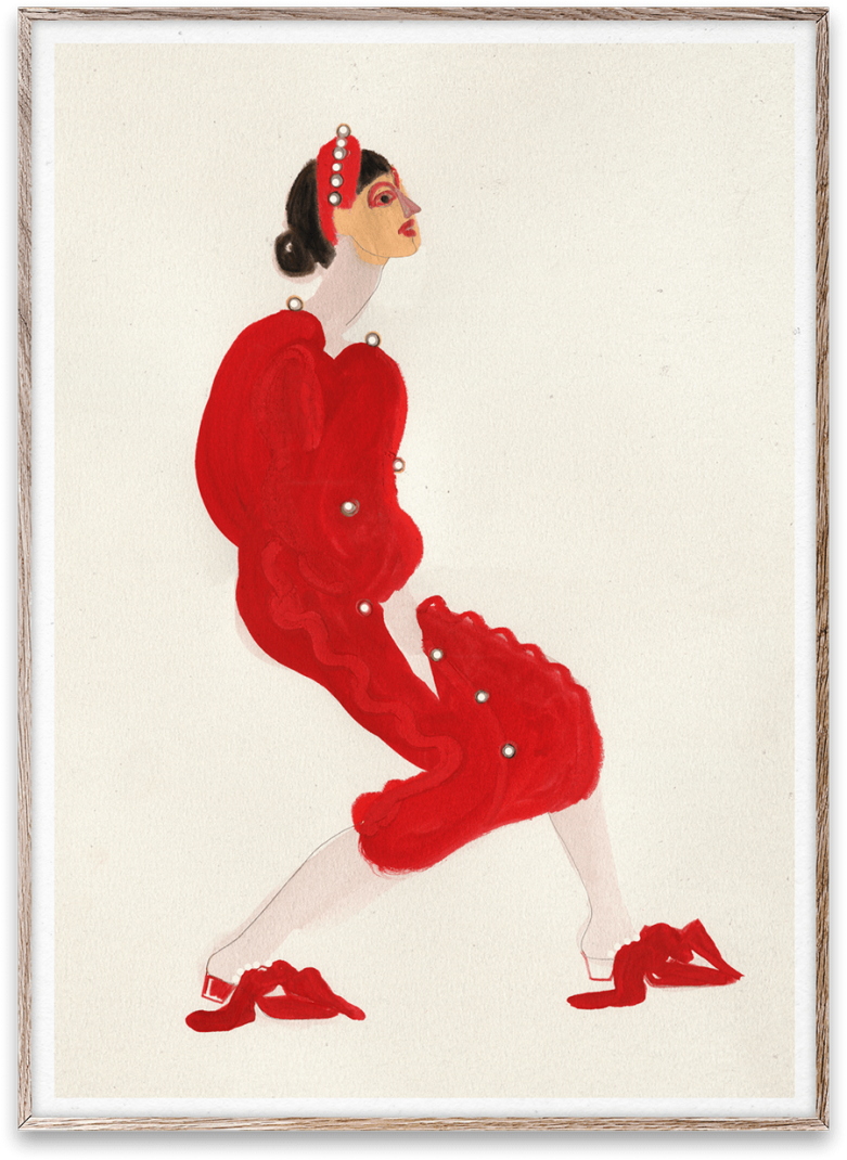 Affiche RED WITH PEARLS by Amelie Hegardt