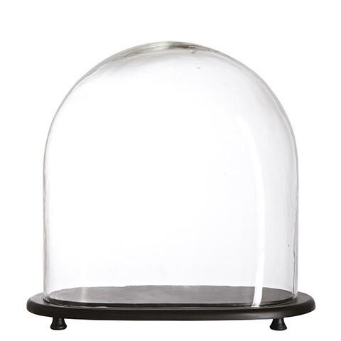 Cloche / Globe sur Socle Bois   XL