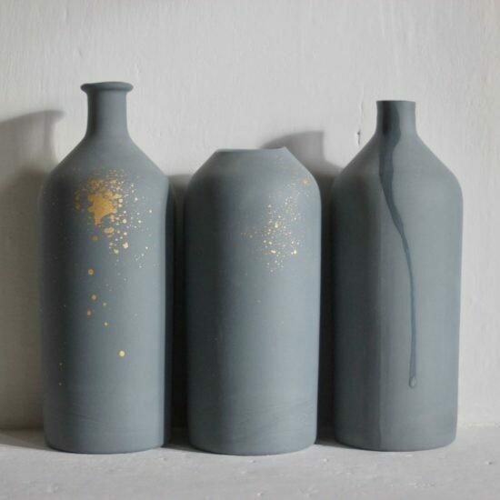 """Vase Orage et Or modèle """"goulot""""  medium EPURE artisans francais"""