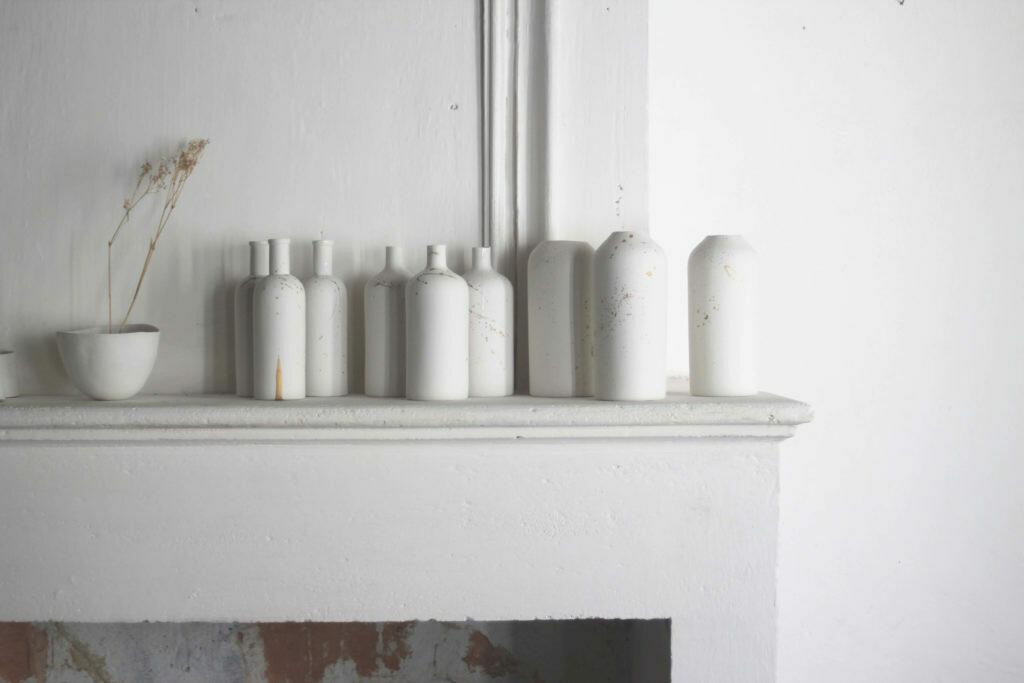 Vase Bouteille Blanc et Or small EPURE artisans Français