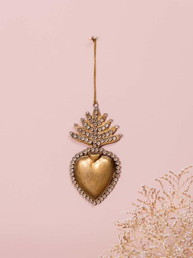 Ex Voto Coeur Sacré Boite dorée avec strass