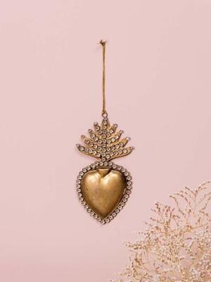 EX VOTO Coeur Sacré Boite doré avec strass