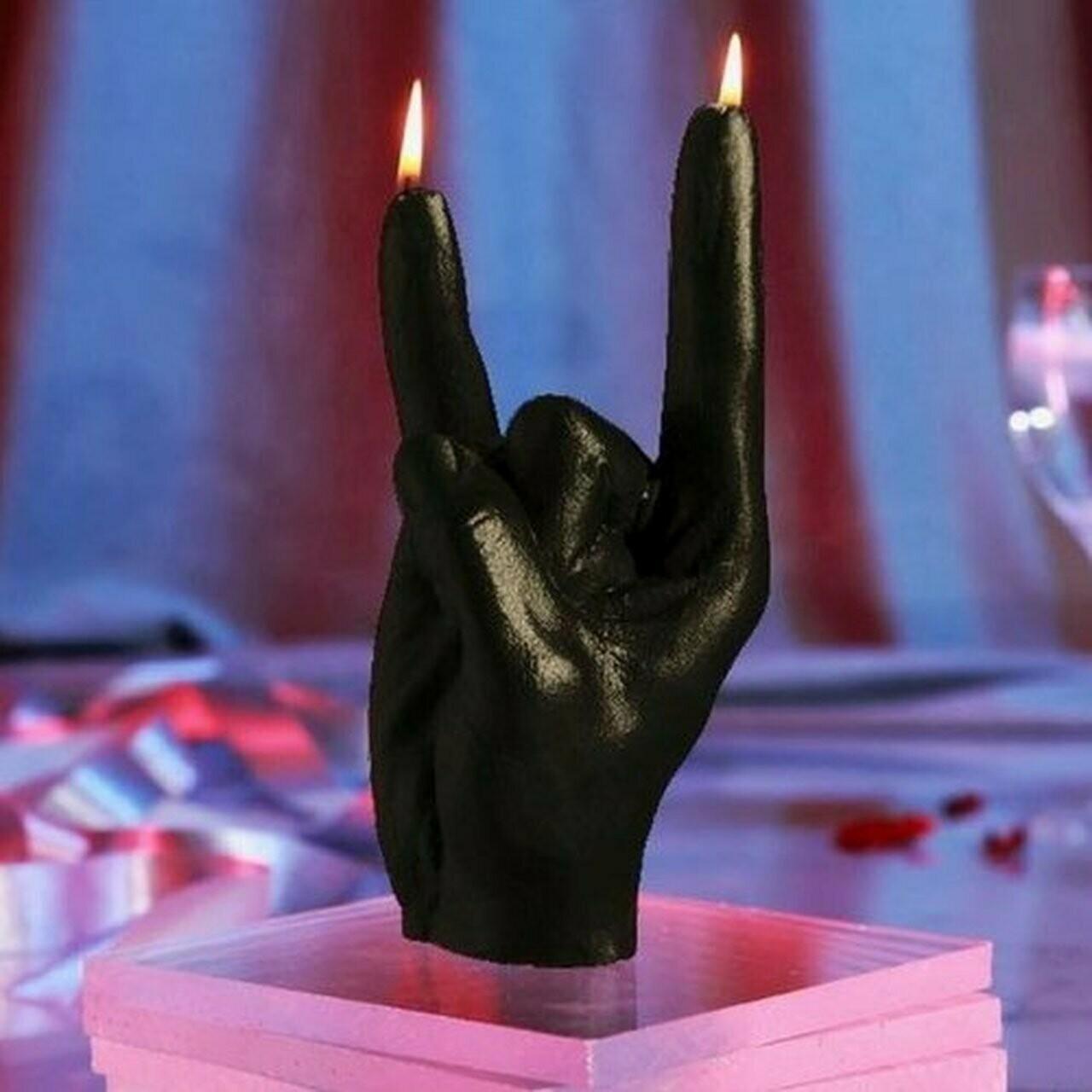 BOUGIE MAIN ROCK AND ROLL ATTITUDE noir métallique