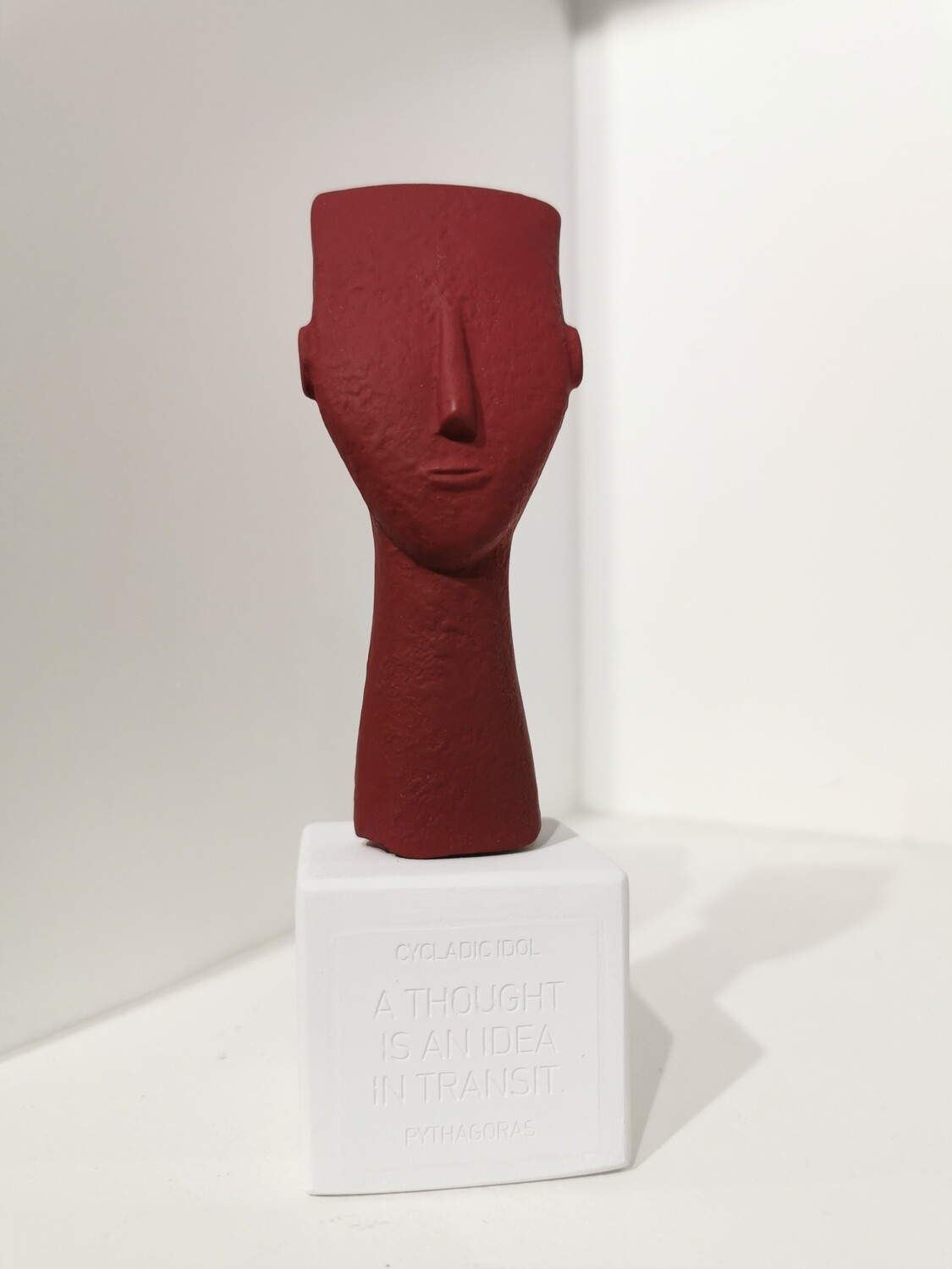 Cycladic Woman Face col baked red