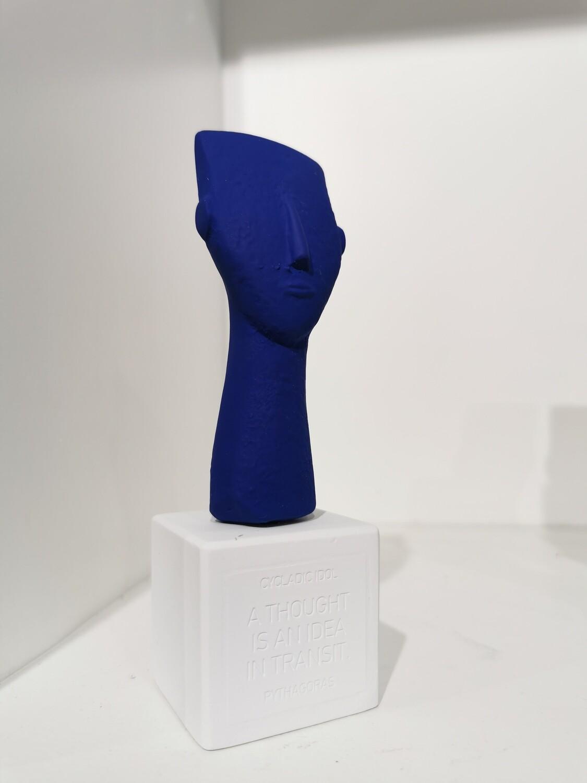 Cycladic Woman Face col bleu elec