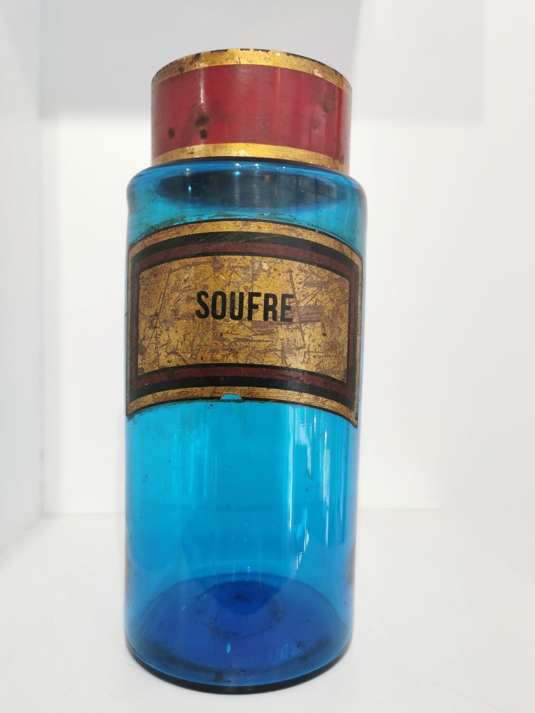 Flacon XL bleu d'Apothicaire Fin 19e Siècle. SOUFRE .RARE . Pièce Unique
