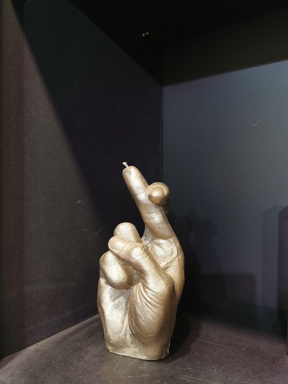 BOUGIE MAIN cross finger  Couleur bronze