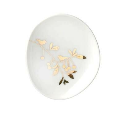 Assiette en Porcelaine Décor Floral Doré