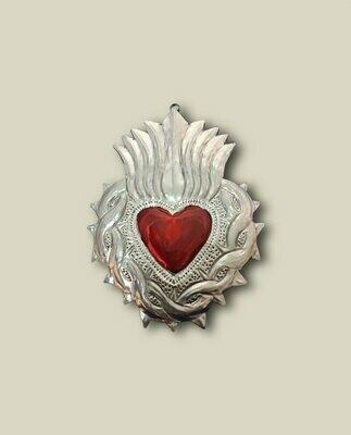 Ex Voto Milagros  bichrome argent et coeur rouge