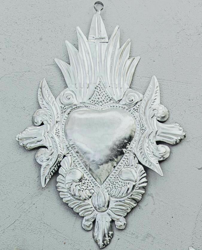 Ex Voto Coeur Sacré colonial métal argent