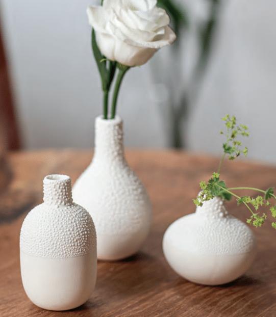 Set de 3 Petits vases Perlés col Ecru