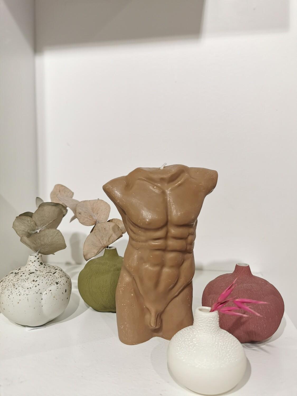 Bougie Statue Homme  coloris chocolat 15 cm