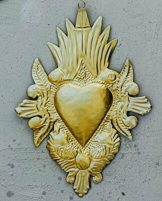 Ex Voto Coeur sacre Mexicain doré