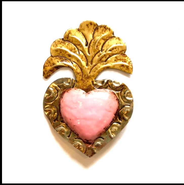 Petit Ex Voto Coeur Sacre ROCHE col Rose