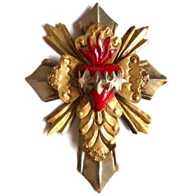 Croix Ex Voto Coeur sacré Rouge ONLY ONE