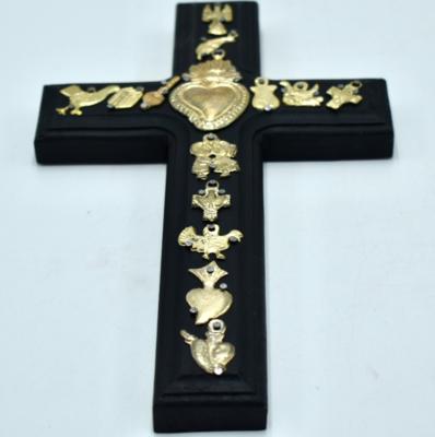 Croix Ex Voto Coeur sacré en bois COMING BACK AS SOON AS POSSIBLE