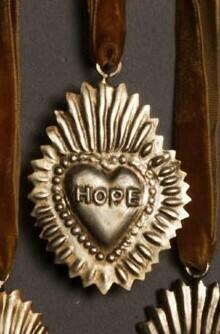 Petit Ex voto Coeur Sacré à message HOPE