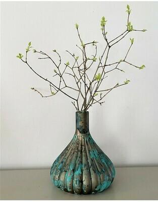 Vase en verre turquoise/cuivré