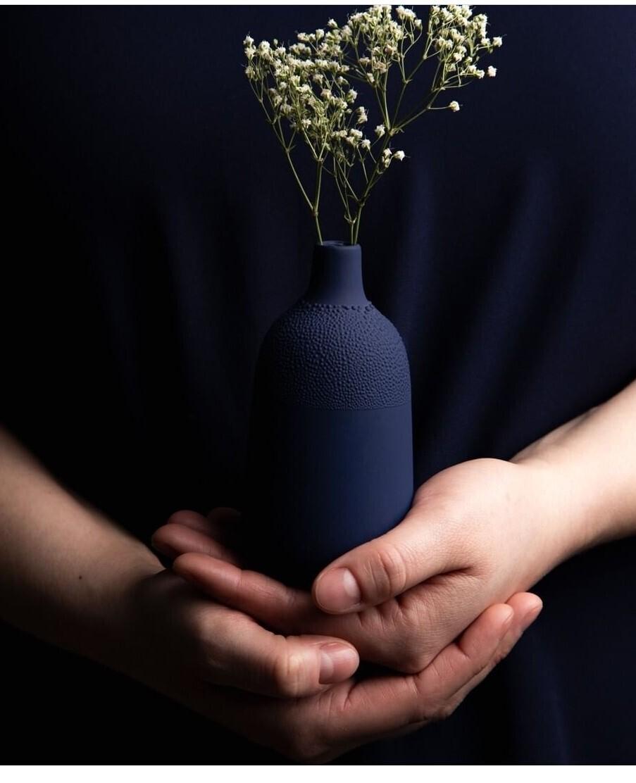 Petit Vase Perlé Bleu