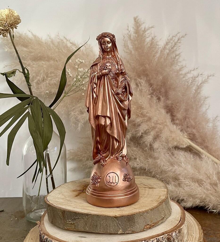 Statue Marie Aux Fleurs col Cuivrée   J ai Vu La Vierge  OUPS DEJA SOLD OUT ! COMING BACK AS SOON AS POSSIBLE