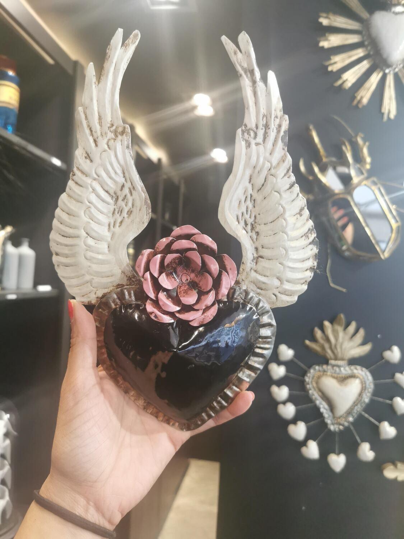 Ex Voto Coeur Sacre ANGEL noir fleur rose NEW COLOR!